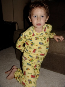 Jack in his At Home Train Pajamas