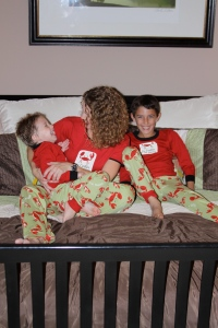 Having fun in our matching family pajamas