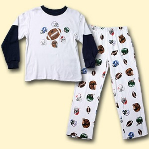 Wes and Willy Football Helmet Pajama Set