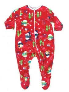 Skivvydoodles Red Snow Daze Christmas Footie Pajama