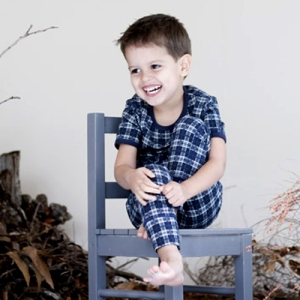 Claesen's Checks Navy Tee and Long John Pant Pajama Set