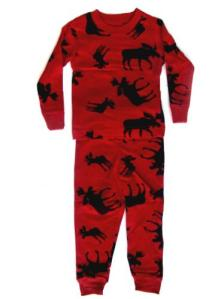 Lazyone Classic Red Moose Kid Pajamas