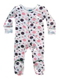 Kicky Pants Bamboo Lotus/Orchid Bubbles Footie Pajamas