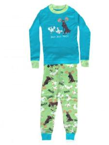 Lazy One Duck Duck Moose Blue Kids Pajama Set