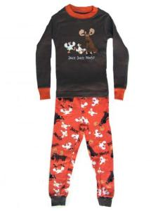 Lazy One Duck Duck Moose Brown Kids Pajama Set