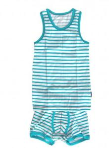 Claesen's Aqua/White Singlet and Boxer Set for Boys