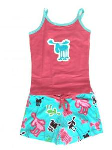 Lazy One Retro Moose Tween Short Pajama Set