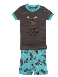 Lazy One Don't Moose with Me Short Pajama Set for Kids