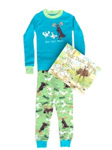 Lazy One Duck Duck Moose Blue Pajamas and Book