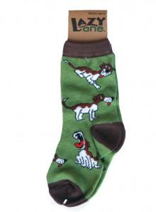 Lazy One Dog Tired Green Kid Socks