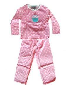 Skivvydoodles Cupcakes on Dots Pink Pajamas for Girls