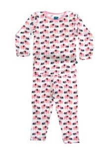 Kicky Pants Bamboo Natural Elephant L/S Pajama Set