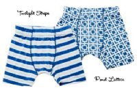 Kicky Pants Bamboo Pond Lattice & Twilight Stripe Boys Boxer Set