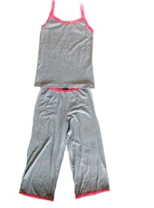 Esme Grey Cami and Grey Lounger with Pink Trim for Women
