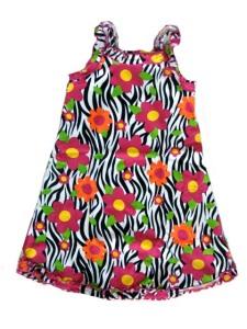 Sara's Prints Zebra Floral Ruffle Tank Nightgown