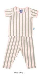 Kicky Pants Bamboo Mist Stripe S/S Pajamas for Girls
