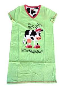 Lazy One Mooody in the Morning Ladies V Neck Nightshirt