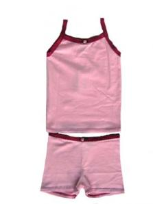 Esme Snug Fit Cami and Boxer Set in Pink with Fuchsia Trim