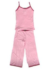 Esme Pink Cami and Lounger Set with Fuchsia Trim for Women