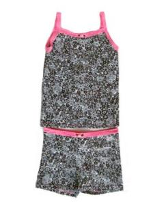 Esme Snug fit Cami and Boxer Set in Chocalate Daisies with Pink Trim