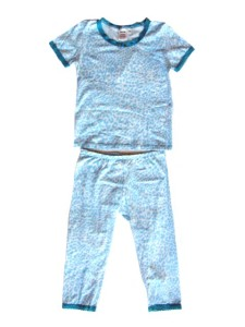 Esme Snug Fit S/S Tee and Leggings Pajama Set in Blue Cheetah with Turquoise Trim