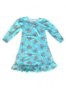 Sara's Prints Puffed L/S Gown Monkey's Bananas