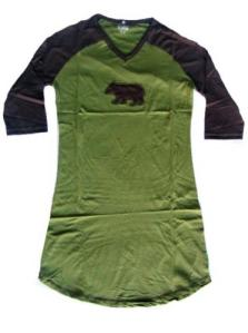 Lazy One Raglan Bear V Neck Ladies Nightshirt
