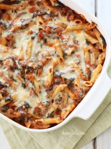 My Baby Pajamas Tuesday Cook off ~ Baked pasta with sausage and spinach