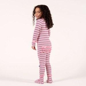 Kicky Pants Orchid Stripe Ruffle Footie Pajamas