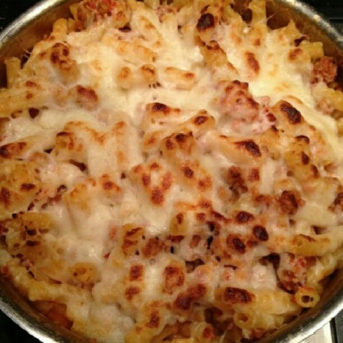Tuesday Cook Off ~ Skillet Baked Ziti with Italian Sausage
