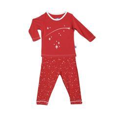 Kicky Pants Bamboo Crimson Starry Sky L/S Pajama Set