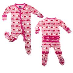 Kickee Pants Bamboo Girl Elephant Ruffle Footie Pajamas