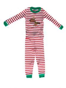 Sara's Prints Red and White Stripe Reindeer Pajamas