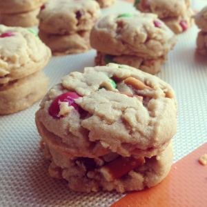 Tuesday Cook Off ~ Peanut Butter Pretzel M&M Cookies