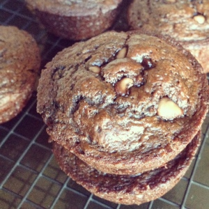Tuesday Cook Off ~ Skinny Double Chocolate Chip Muffins