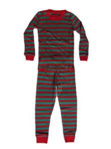 Sara's Prints Emerald/Red Stripe Christmas pajamas