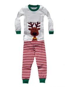 Sara's Prints Red/White Reindeer Screen Print Christmas Pajamas