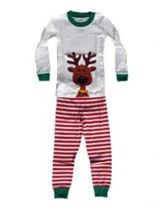 Sara's Prints Red/White Reindeer Screen Print Christmas Pajamas